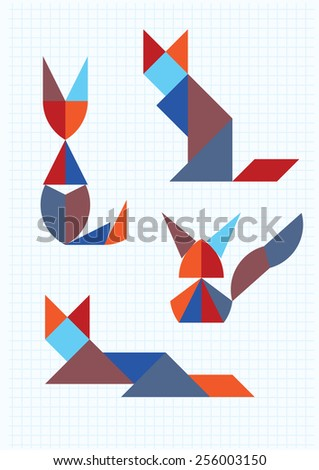 cats in different poses tangram