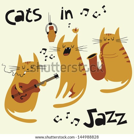 Cats in jazz vector set. Illustration of three cats playing music and singing in retro style. - stock vector