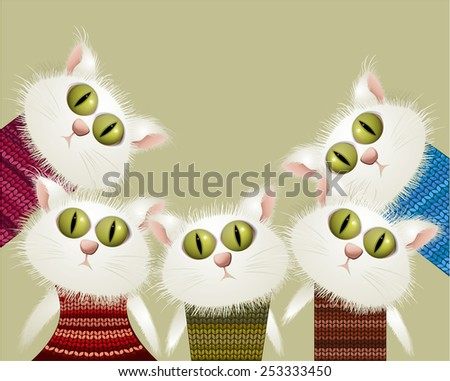 Cats in pullovers - stock vector
