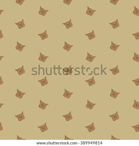 Cats on the background in vintage style. Vector illustration. Seamless pattern.