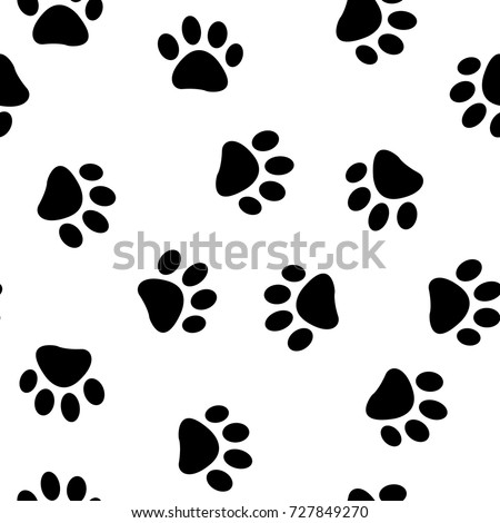 Cats Paw Print Vector Seamless Pattern Endless Texture Can Be Used For Wallpaper