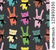 Cats, rabbits and bears seamless pattern - stock vector