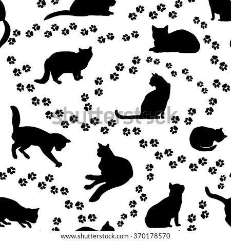 Cats seamless pattern. Cat silhouette and animal tracks pattern over white background. - stock vector