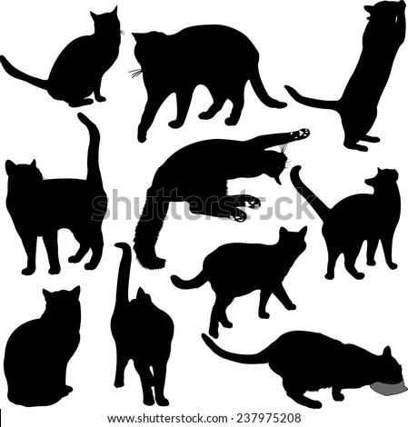 Cats silhouette collection - vector 1 - stock vector