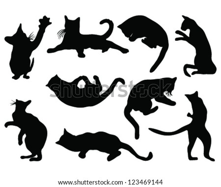 Cats silhouettes in different poses, vector - stock vector