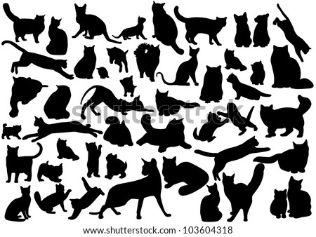 Cats silhouettes set. Vector illustration on EPS 8 - stock vector