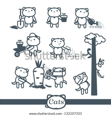 Cats Vector icons. 8 Symbols Set: gardening