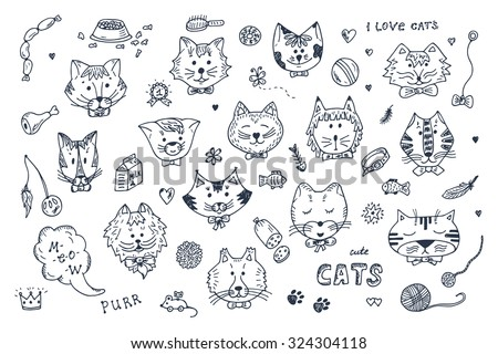 Cats Vector Set. Cats faces icons. Hand Drawn Doodles Cats and accessories for pets - stock vector