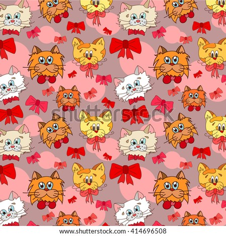 cats with bows pattern