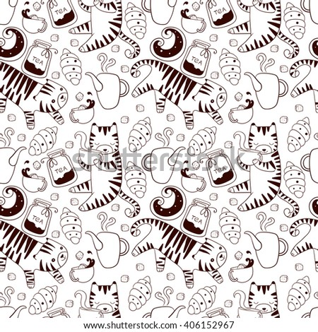 Cats with teapots cups and baking seamless vector wallpaper background texture pattern