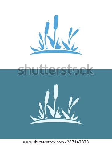 Cattail on white and blue background, Vector Illustration of wild lake, EPS10