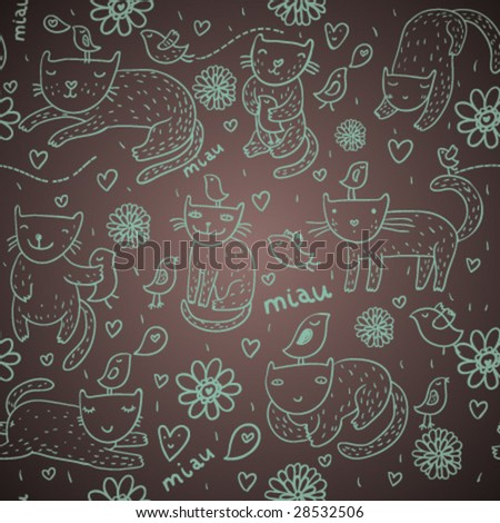 Cattish seamless pattern in vector - stock vector