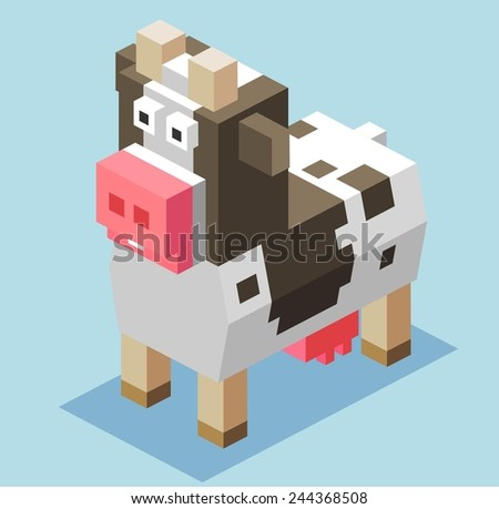 cattle for milk. 3d pixelate isometric vector - stock vector