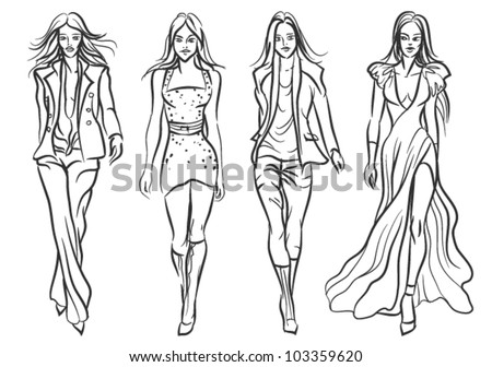 Catwalk fashion models - sketch style vector illustration. - stock vector