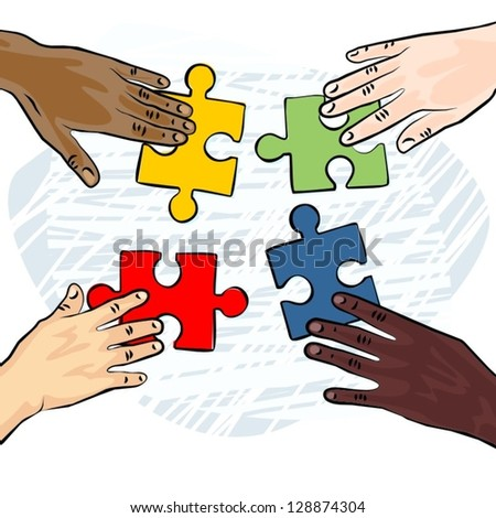 caucasian african asian indian american human hands holding pieces of puzzle colorful vector illustration - stock vector