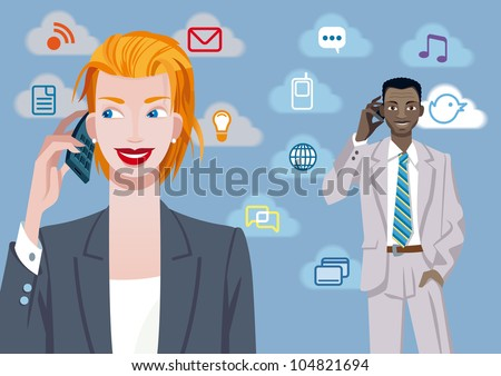 Caucasian businesswoman and black businessman talking on mobile phone. Besides their there are a set of communication icons. - stock vector