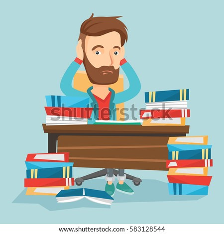 Exam stress stock images royalty free images vectors shutterstock caucasian hipster student with beard studying hard before exam young stressed student studying with textbooks thecheapjerseys Image collections