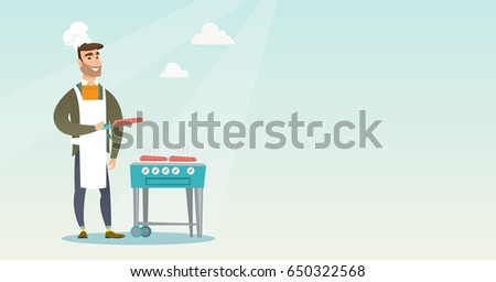 Caucasian man cooking steak on the gas barbecue grill outdoors. Young hipster man preparing steak on the gas barbecue grill. Man at a barbecue party. Vector flat design illustration. Horizontal layout