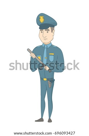Caucasian policeman wearing blue uniform and holding a baton in hand. Full length young serious policeman with a baton. Vector sketch cartoon illustration isolated on white background.