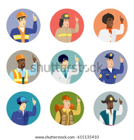 Caucasian policeman with open mouth pointing finger up. Young policeman with open mouth came up with successful idea. Set of vector flat design illustrations in the circle isolated on white background