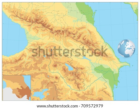 Caucasus Physical Map No Text Detailed Stock Vector - The caucasus map
