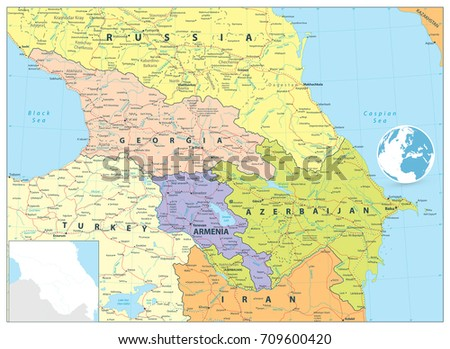 Caucasus Political Map Flat Map Markers Stock Vector - The caucasus map