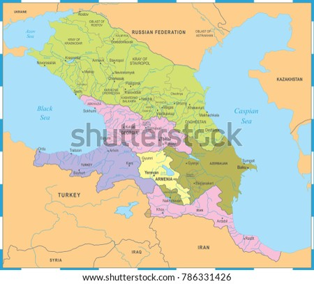 Caucasus Region Map Detailed Vector Illustration Stock Vector