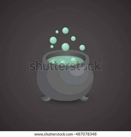 Cauldron icon isolate on neutral background. Vector art.