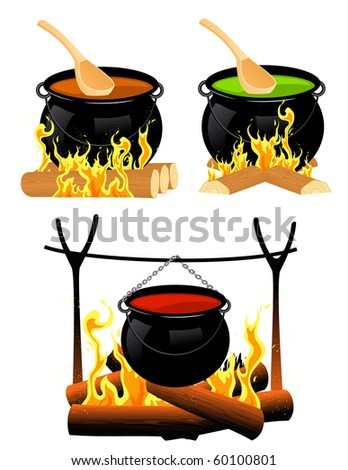 Cauldron set, vector illustration - stock vector