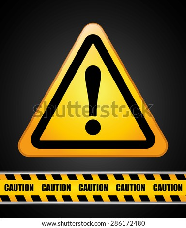 Caution design over black background, vector illustration.