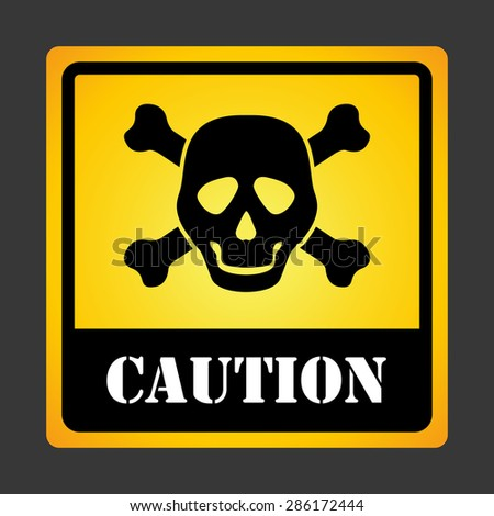 Caution design over gray background, vector illustration. - stock vector