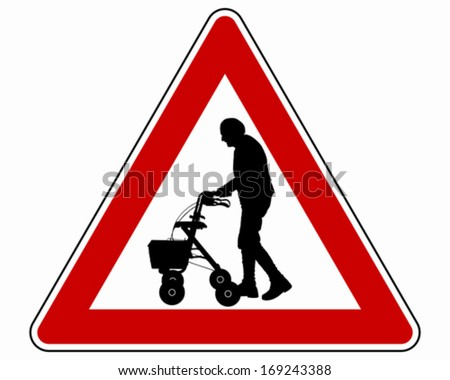 Caution elderly people - stock vector