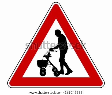 Caution elderly people - stock vector