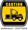 Caution - forklift truck - stock photo