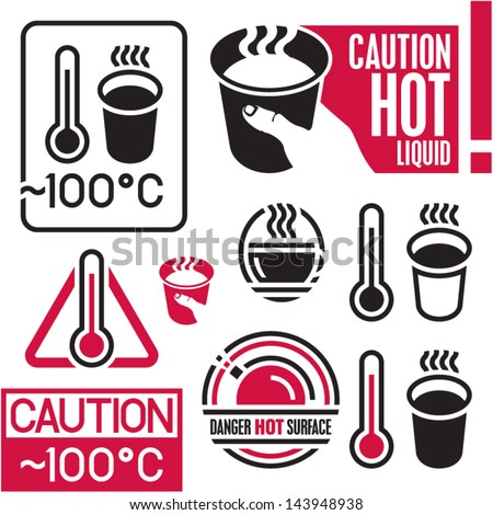Caution hot sign. Hot coffee. - stock vector