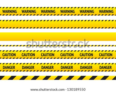 Caution line and danger tapes on white background. Vector illustration. - stock vector