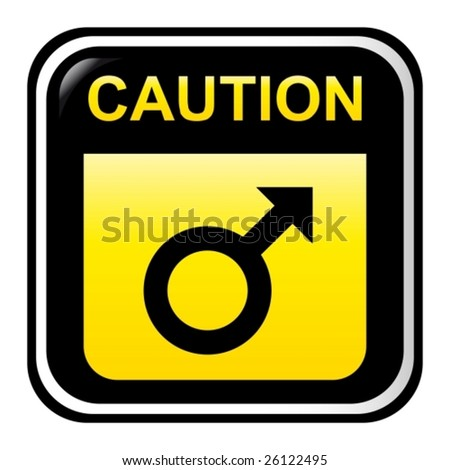 Caution - male - stock vector