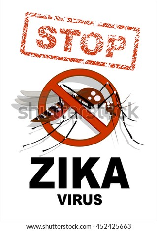 Caution of mosquito icon, spread of zika and dengue virus. Stop mosquito. (Vector Design)