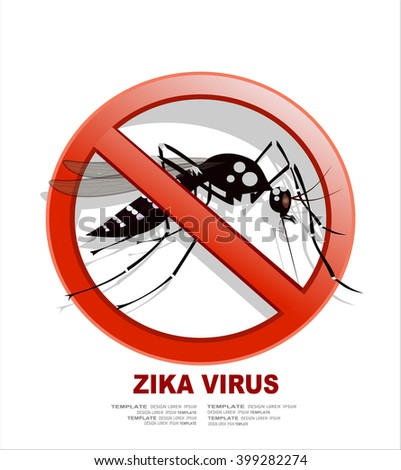 Caution of mosquito icon, spread of zika and dengue virus. (Vector Design) - stock vector
