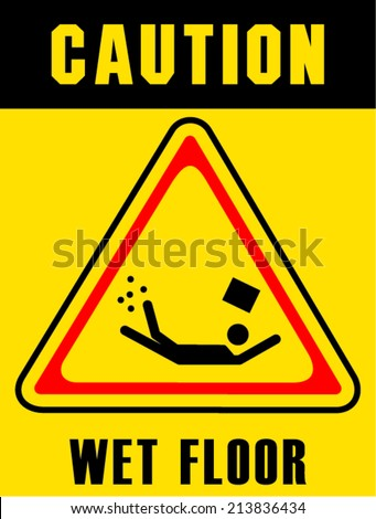 caution sign on white background - stock vector