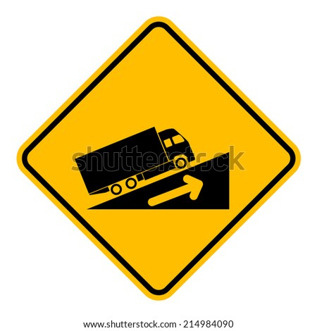 Caution Sign Road on isolated background. Vector Illustration