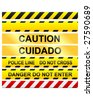 Caution tape and warning signs in seamless vector - stock photo