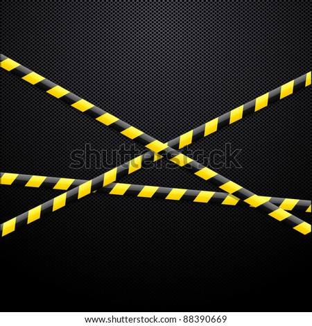 Caution tape on black background - stock vector
