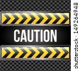 caution tape over black background vector illustration  - stock vector