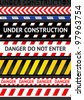 Caution tapes, seamless strip. Warning line - stock vector