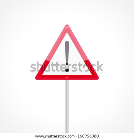 Caution traffic sign isolated on white background (red)