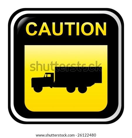 Caution - truck - stock vector