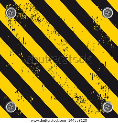 caution wall over black and yellow background vector illustration - stock vector