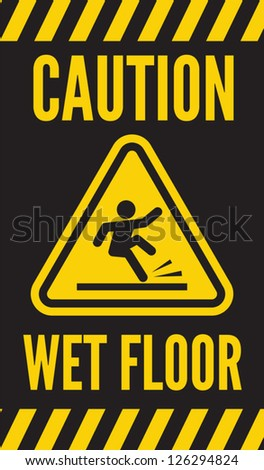 Caution wet floor - stock vector