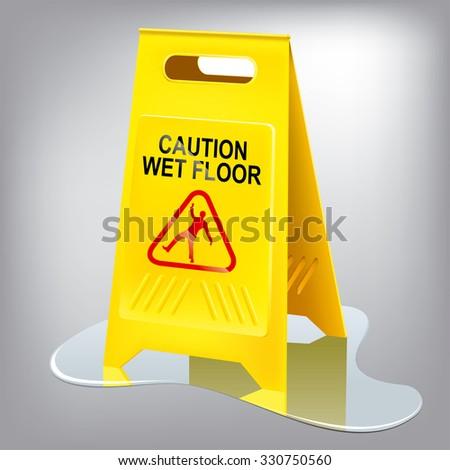 Caution wet floor sign. Easy editing. - stock vector